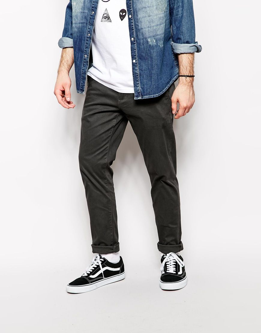 Chinos by Zee Gee Why Made from cotton Side slant pockets Standard hem Skinny fit