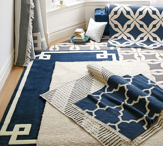 Pottery Barn Navy And White Area Rug: Hotel Bordered Rug - Navy
