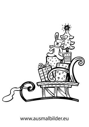 Ausmalbild Voll Geladener Nikolausschlitten Ausmalbilder Weihnachten Ausmalbilder Nikolaus Weihnachtsausmalbilder