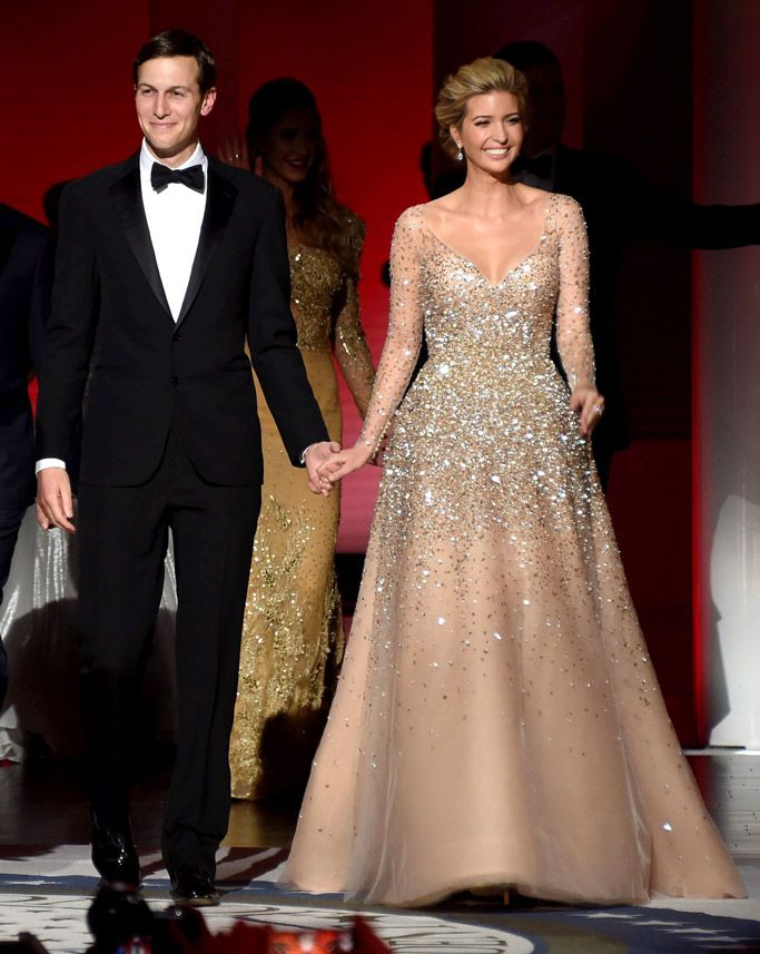 5cf12596b6 ivanka trump dress inaugural ball gown was a long-sleeve dress that  featured sparkling gold fleck detail