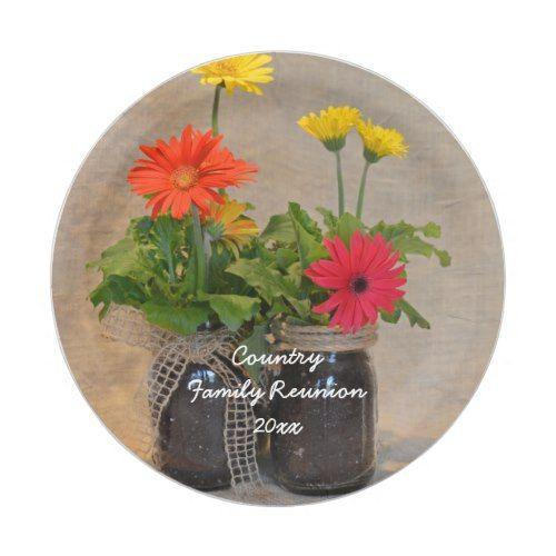 Personalized Rustic Mason Jar Daisy Family Reunion Paper Plate