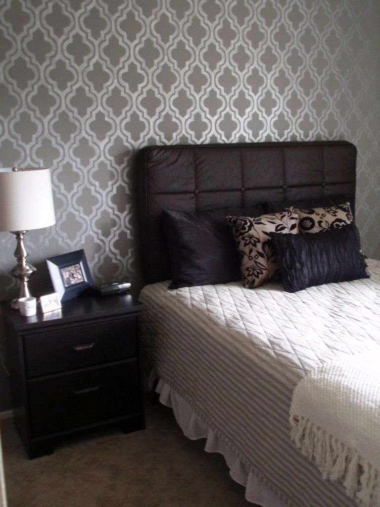 Small Bedroom With Wall Painted Stencil Designs Wonderful Ideas