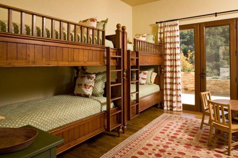 Bonitas literas de madera para cuatro infantil literas pinterest decoracion rustica - Habitaciones infantiles rusticas ...