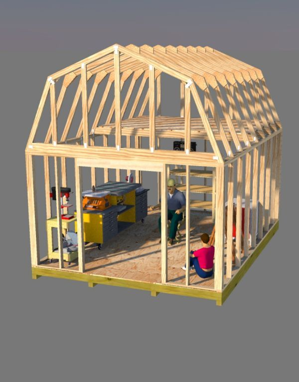 Build this awesome 12x16 barn style shed that has a ton of for Barn shed with loft plans