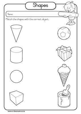 3d shape activities for preschoolers 3d shape matching to real objects worksheets 410
