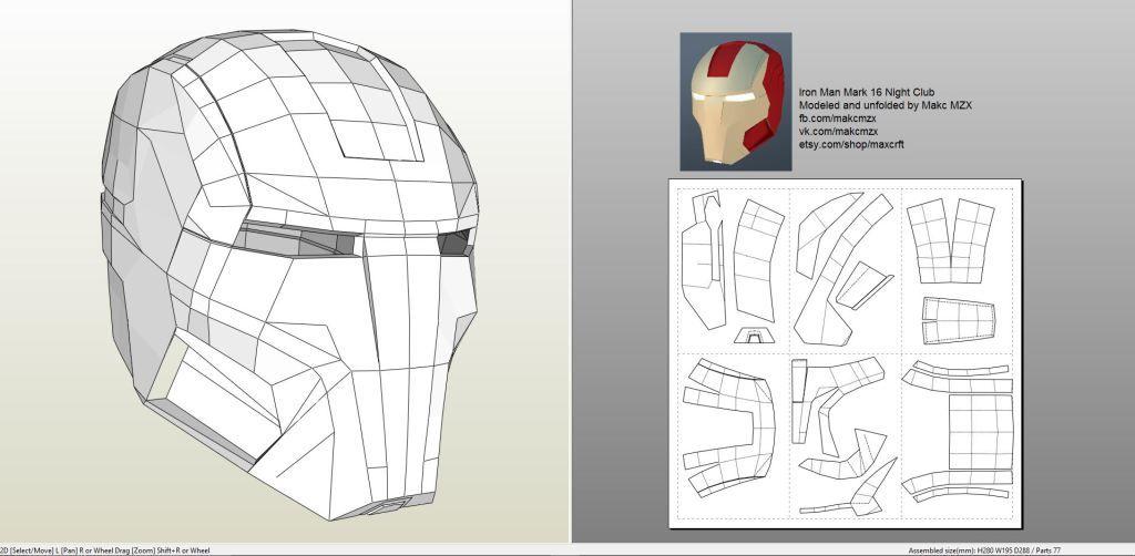 Papercraft Pdo File Template For Iron Man Mark 16 Helmet Foam