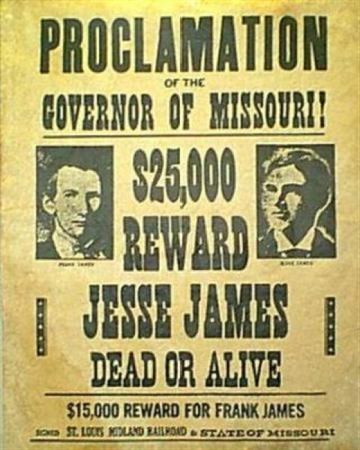 Wanted Poster For The James Brothers  Examples Of Wanted Posters
