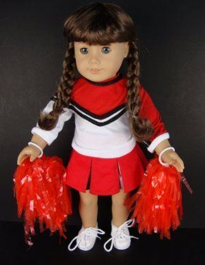 5 Pc Red and White Cheerleading Uniform with Shirt, Skirt, Shoes, Pom Poms and Underwear Designed for 18 Inch Doll Like the American Girl Dolls by Olivia's Doll Closet. $18.00. 5 Pc Red and White Cheerleading Uniform with Shirt, Skirt, Shoes, Pom Poms and Underwear Designed for 18 Inch Doll Like the American Girl Dolls. Package includes: 1X 18 inch Doll Clothes (Doll not included, only the Clothes). Handcrafted Especially for Olivia's Doll Closet to fit the 18 inch Doll l... #18inchcheerleadercl #18inchcheerleaderclothes