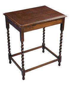 Antique English Oak Occasional Table: The Style Of Edwardian Barley Twist  Carved Occasional Table Of