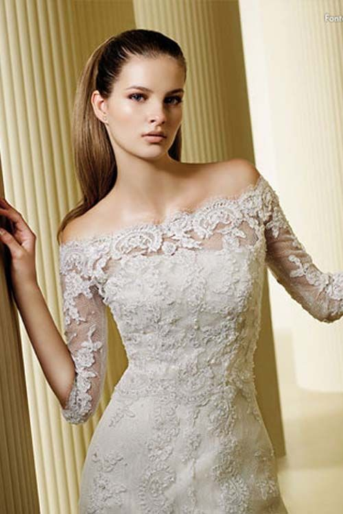 wedding dresses with sleeves off the shoulder wedding gown images ...