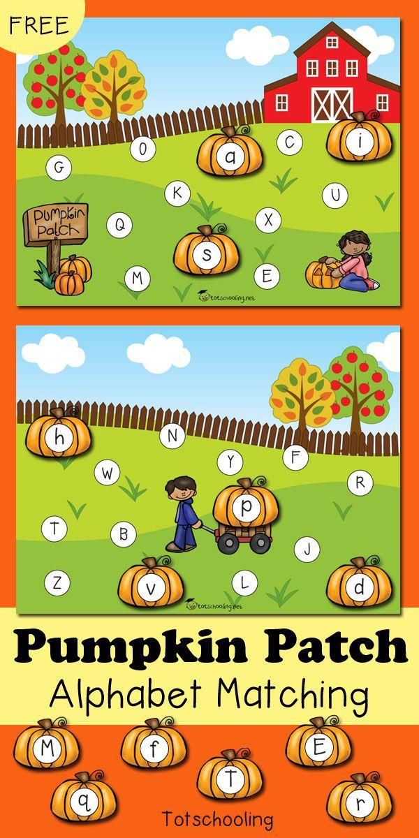 Pumpkin Patch Alphabet Matching Game Fall preschool