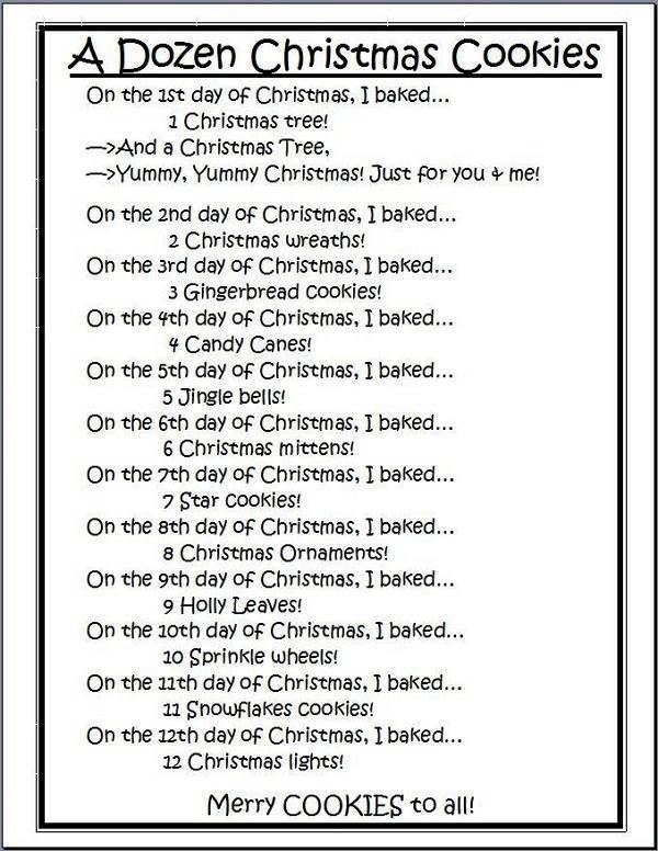 A Dozen Christmas Cookies 12 Days Of Christmas Lyrics Printable For Kids Christmas Lyrics Days Of Christmas Song Funny Christmas Songs