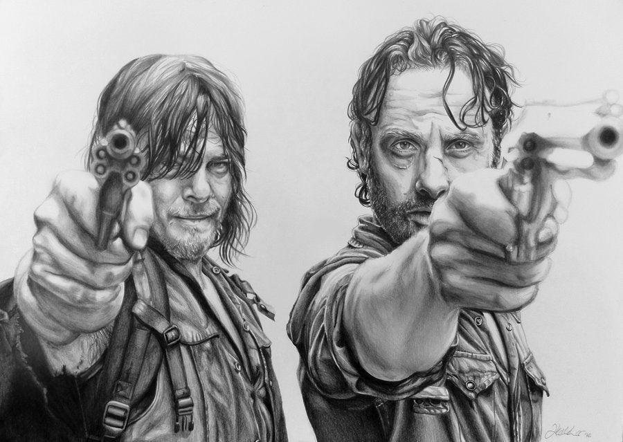 Rick And Daryl Walking Dead Drawings Walking Dead Art Walking Dead Tattoo