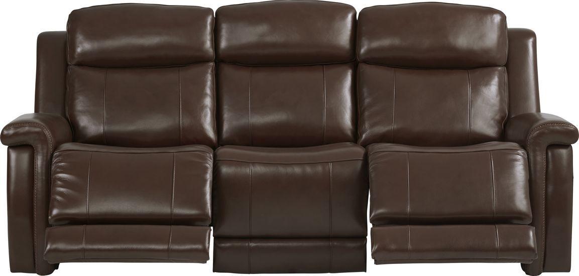 Orsini Brown Leather Dual Power Reclining Sofa Power Reclining Sofa Reclining Sofa Power Recliners