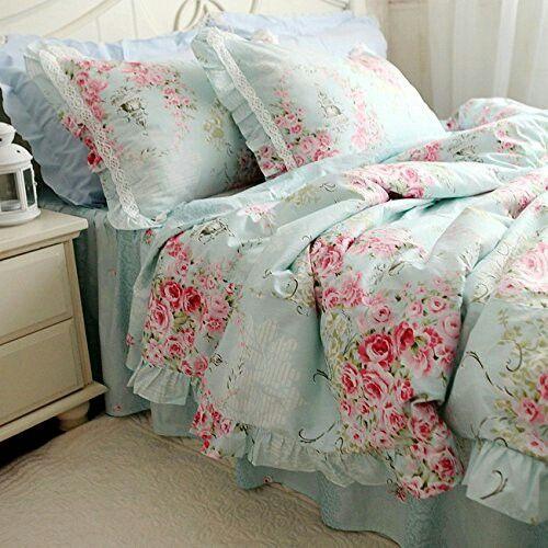 swanlake shabby and elegant new blue cotton roses bed skirt duvet cover bedding set queen