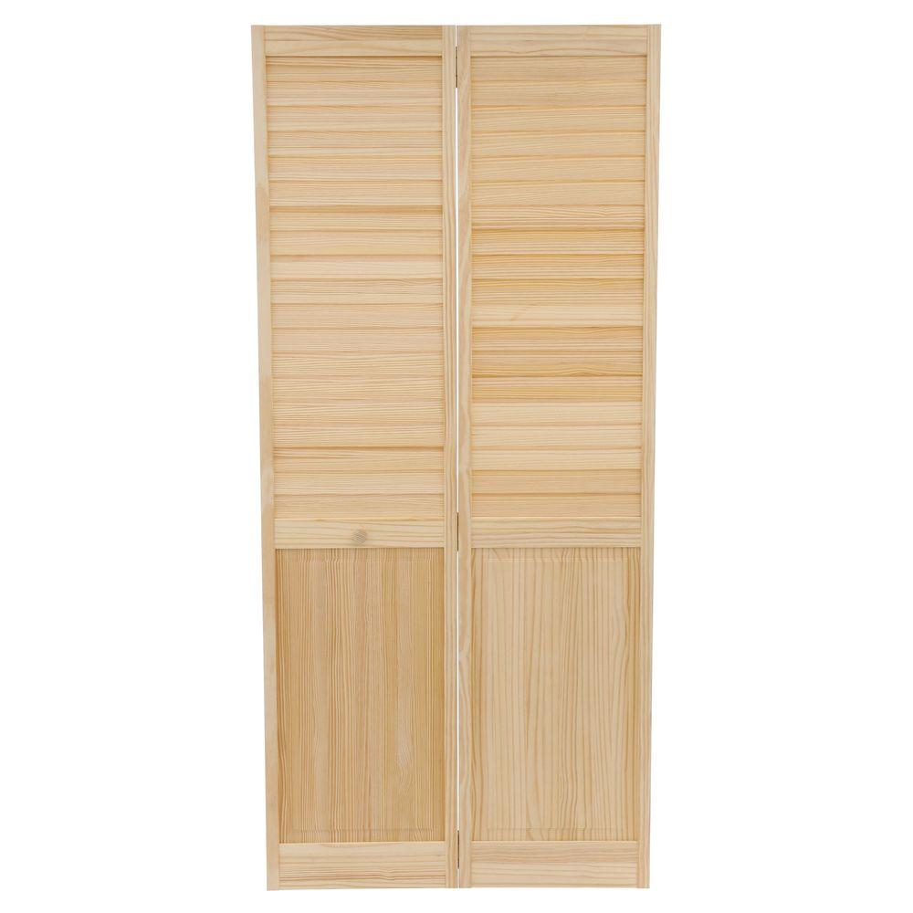 Plantation Louvered Solid Core Unfinished Panel Wood Interior Closet Bi Fold Door Clear