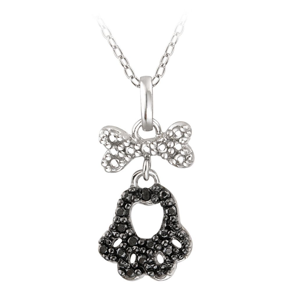 Db designs sterling silver black diamond accent paw print and dog