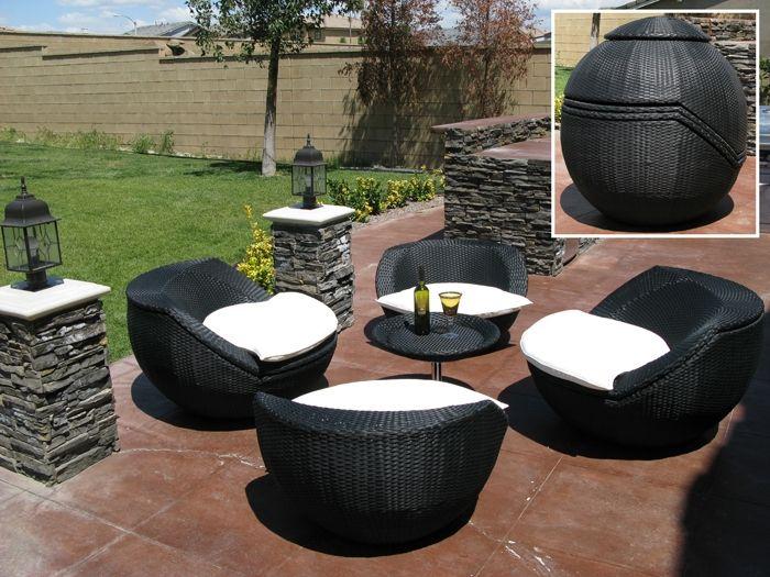 Salon de jardin resine tressee pliable - Maison mobilier et design
