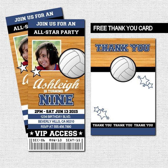VOLLEYBALL TICKET INVITATIONS + BONUS THANK YOU CARD (Printable - printable ticket invitations