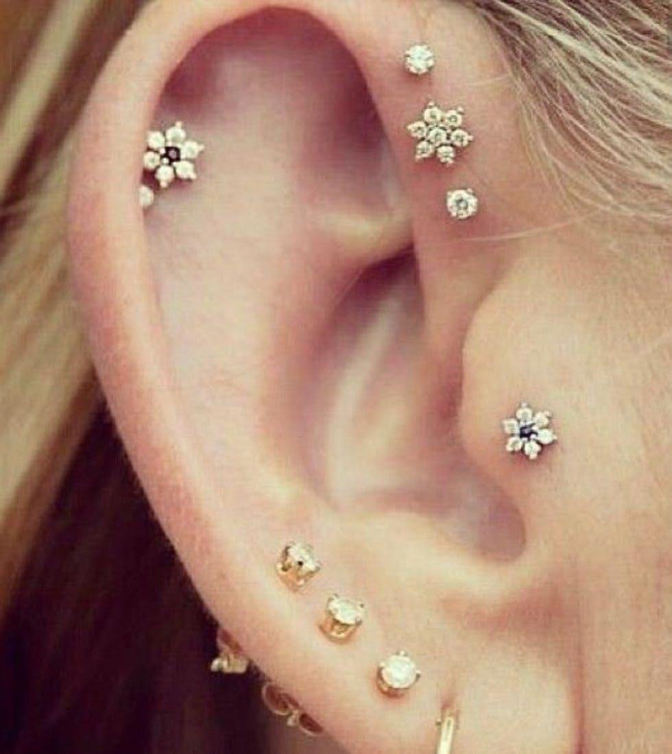 Diamond earring 14k gold earring diamond cluster