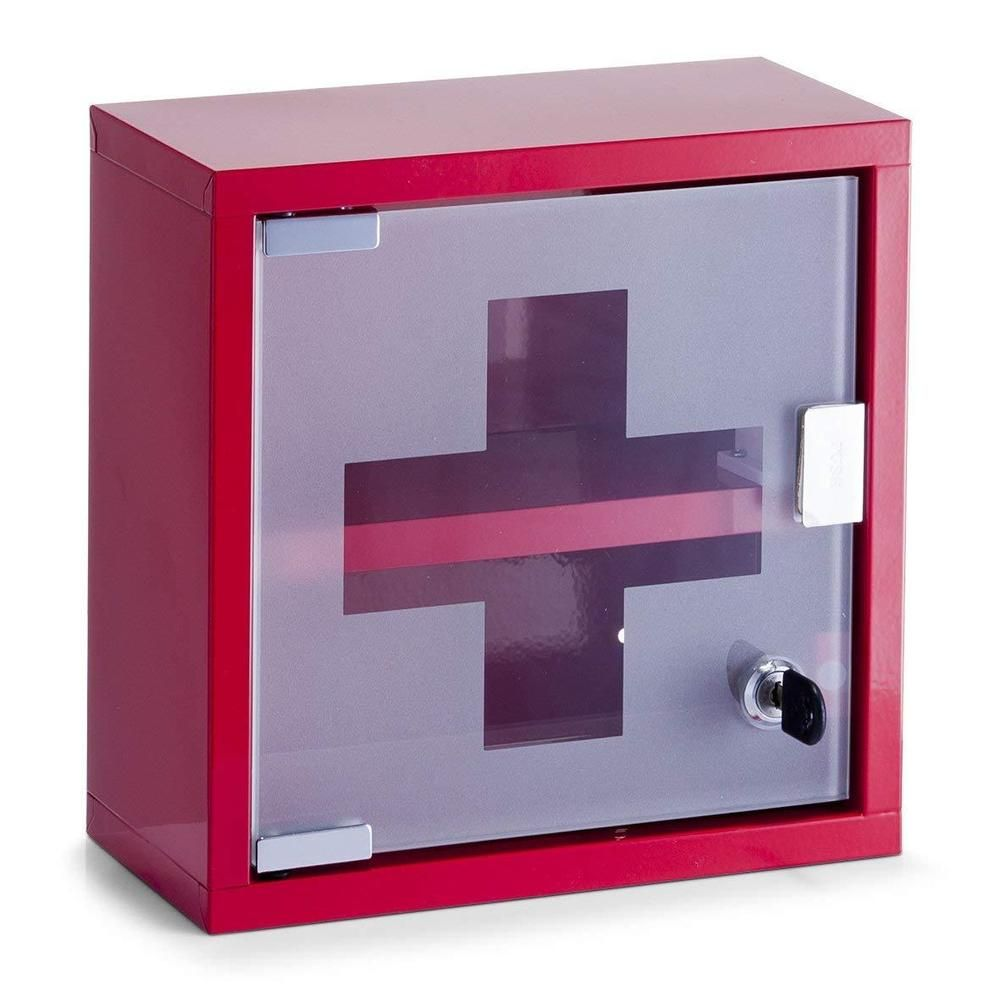 First Aid Cabinet Box Lockable Medicine Storage Wall Mount