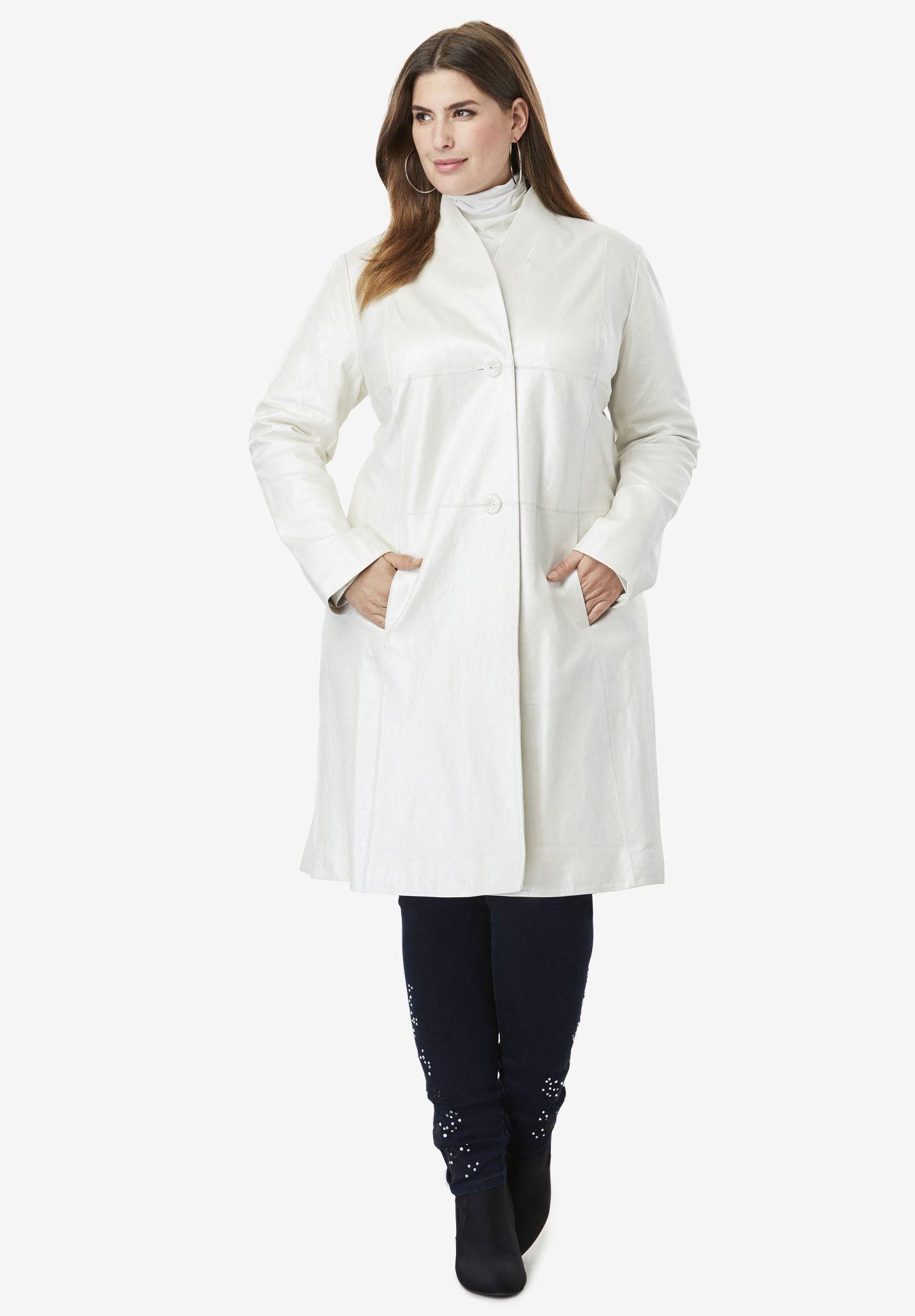 Leather Swing Coat Pearlized Ivory Plus Size Leather Jacket Swing Coats Plus Size Coats [ 1986 x 1380 Pixel ]