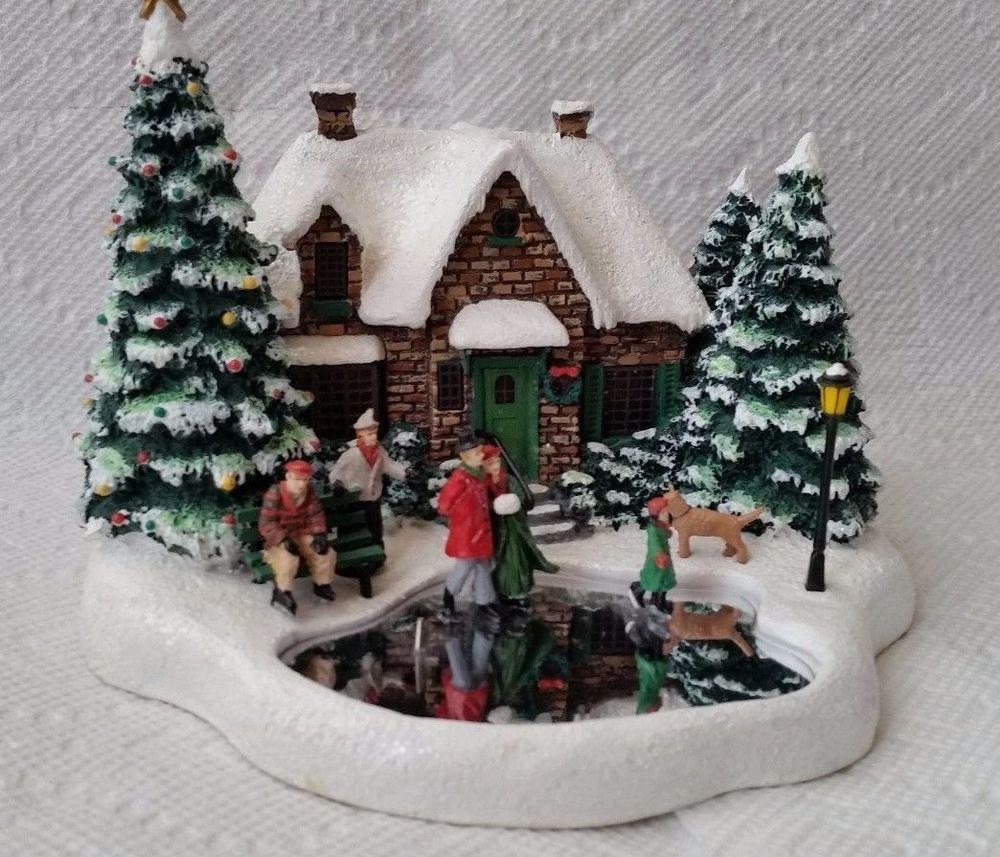 Thomas Kinkade Skater S Pond Lighted House Christmas