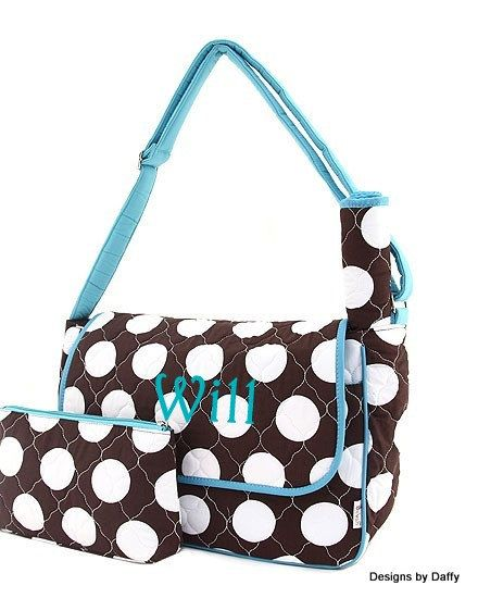 Quilted Personalized Diaper Bag by DesignsbyDaffy on Etsy, $32.95