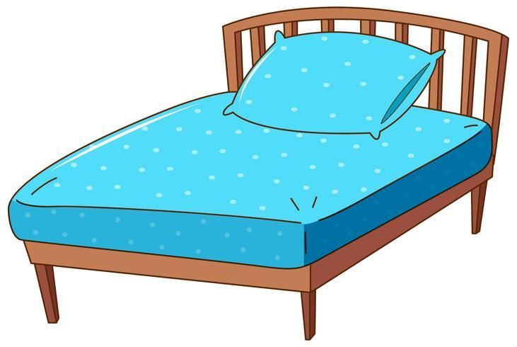 Download Bed with blue pillow and sheet for free