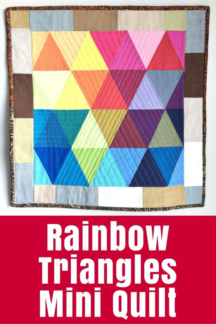 Rainbow Triangles Mini Quilt Tutorial