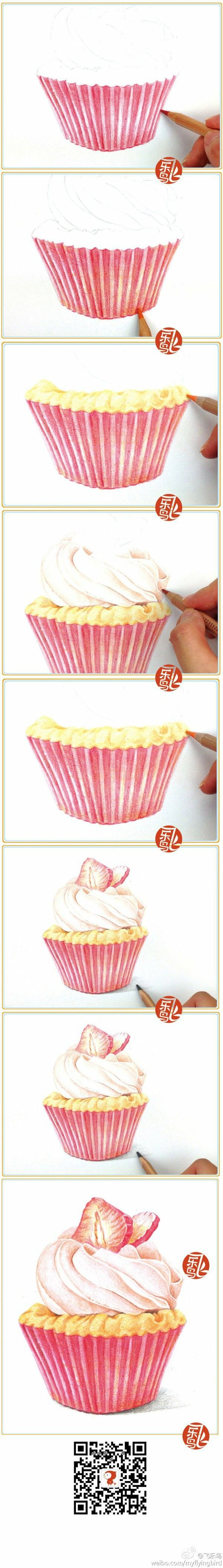 Drawing A Cupcake In Colored Pencil Color Pencils Umeni Kresby
