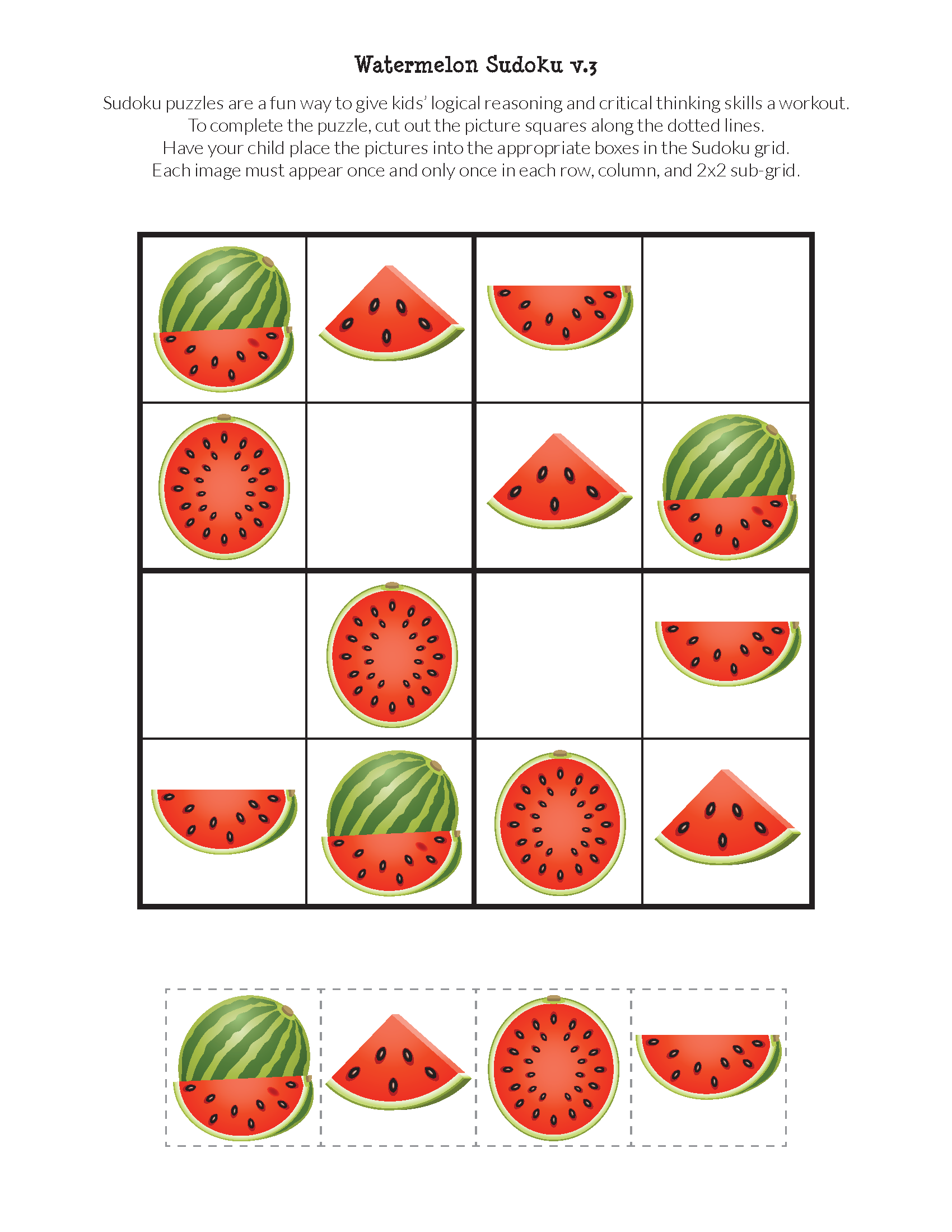 Watermelon Sudoku Puzzles Free Printables Sudoku Sudoku Puzzles Phonics For Kids [ 2200 x 1700 Pixel ]