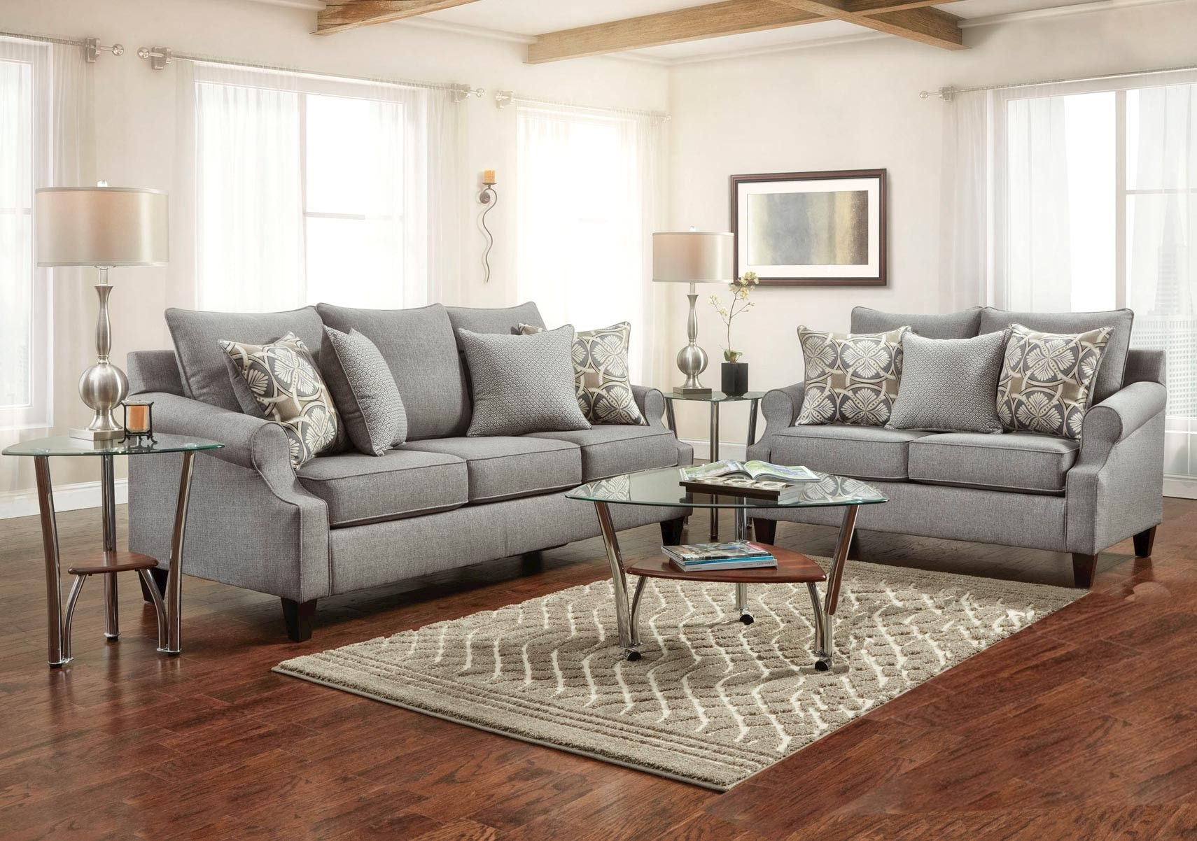 Lacks Harper Gray 2 Pc Living Room Set