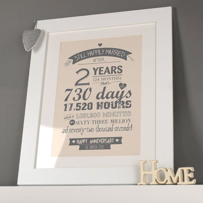 Personalised Framed Print After 2 Years Paper Wedding Anniversary Gift 1st Wedding Anniversary Gift Wedding Anniversary Gifts