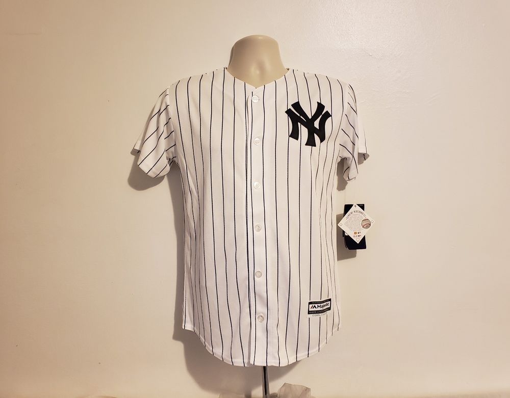timeless design 8b9de 3df44 Majestic New York Yankees Cool Base Youth Large 14/16 White ...
