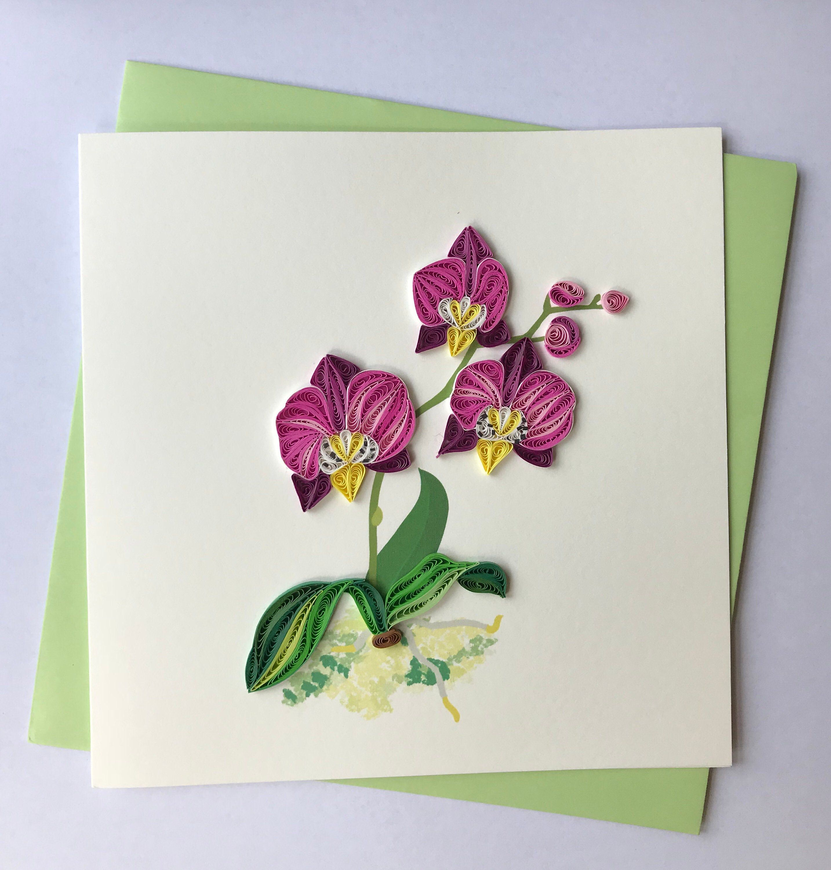 orchid greeting card quilling greeting card handmade