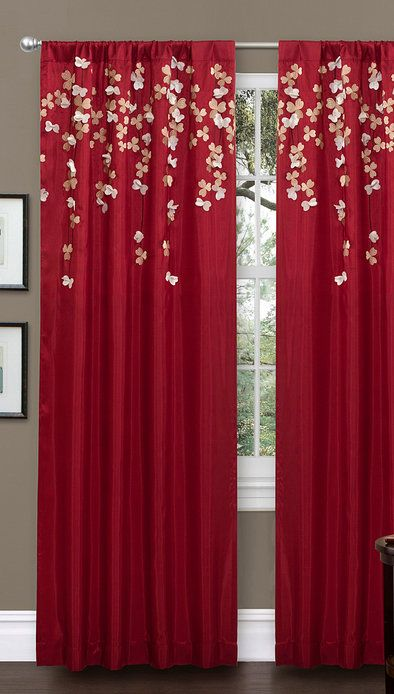 Red Flower Drop Curtain Lush Decor Red Curtains Bedroom Panel