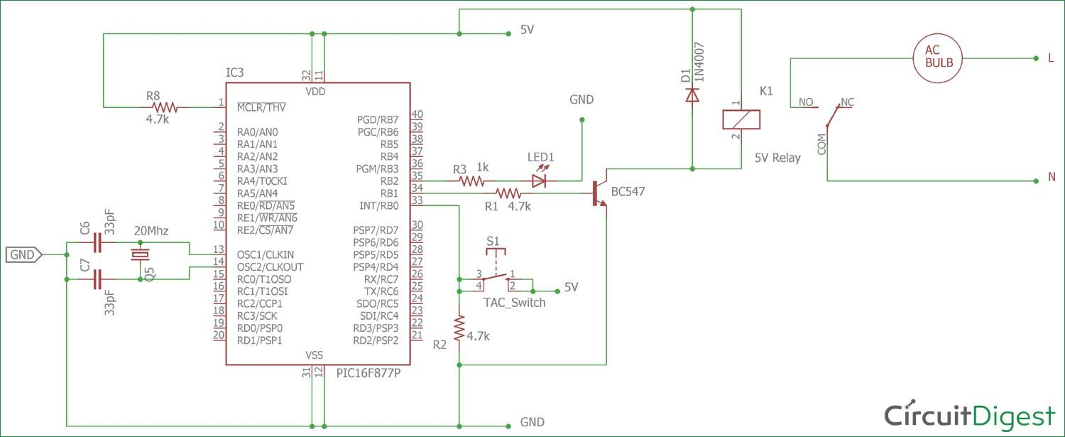 Circuit diagram for Interfacing Relay with PIC Micro