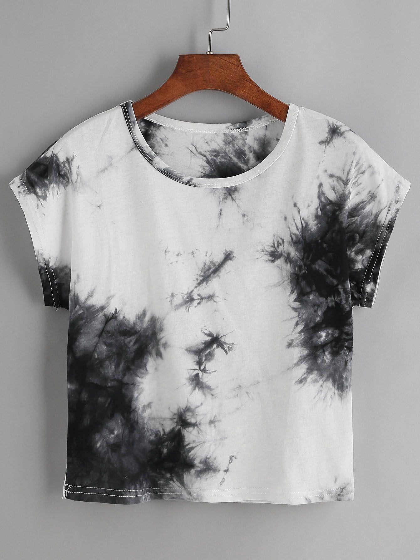 shirt mit aufdruck tie dye farbblock german shein sheinside new style kleidung kleider. Black Bedroom Furniture Sets. Home Design Ideas