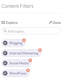 Add, edit relevant topics and content filters in Klout
