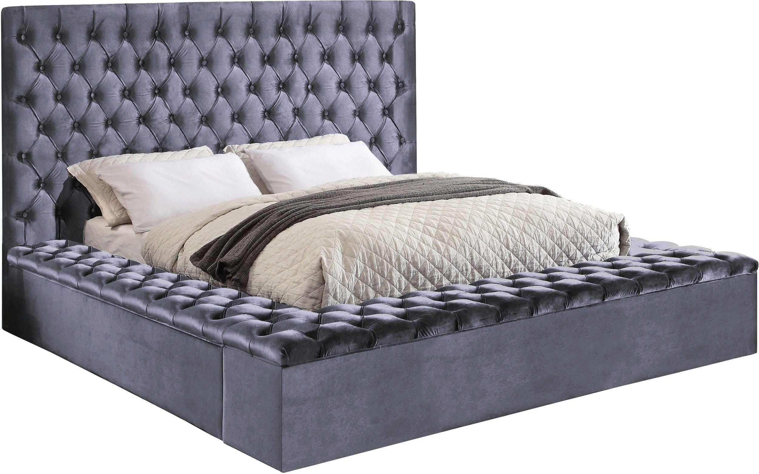 Lowest Price On Meridian Bliss Grey Velvet King Storage Bed Blissgrey K Shop Today Velvet Upholstered Bed Upholstered Beds Modern Bed