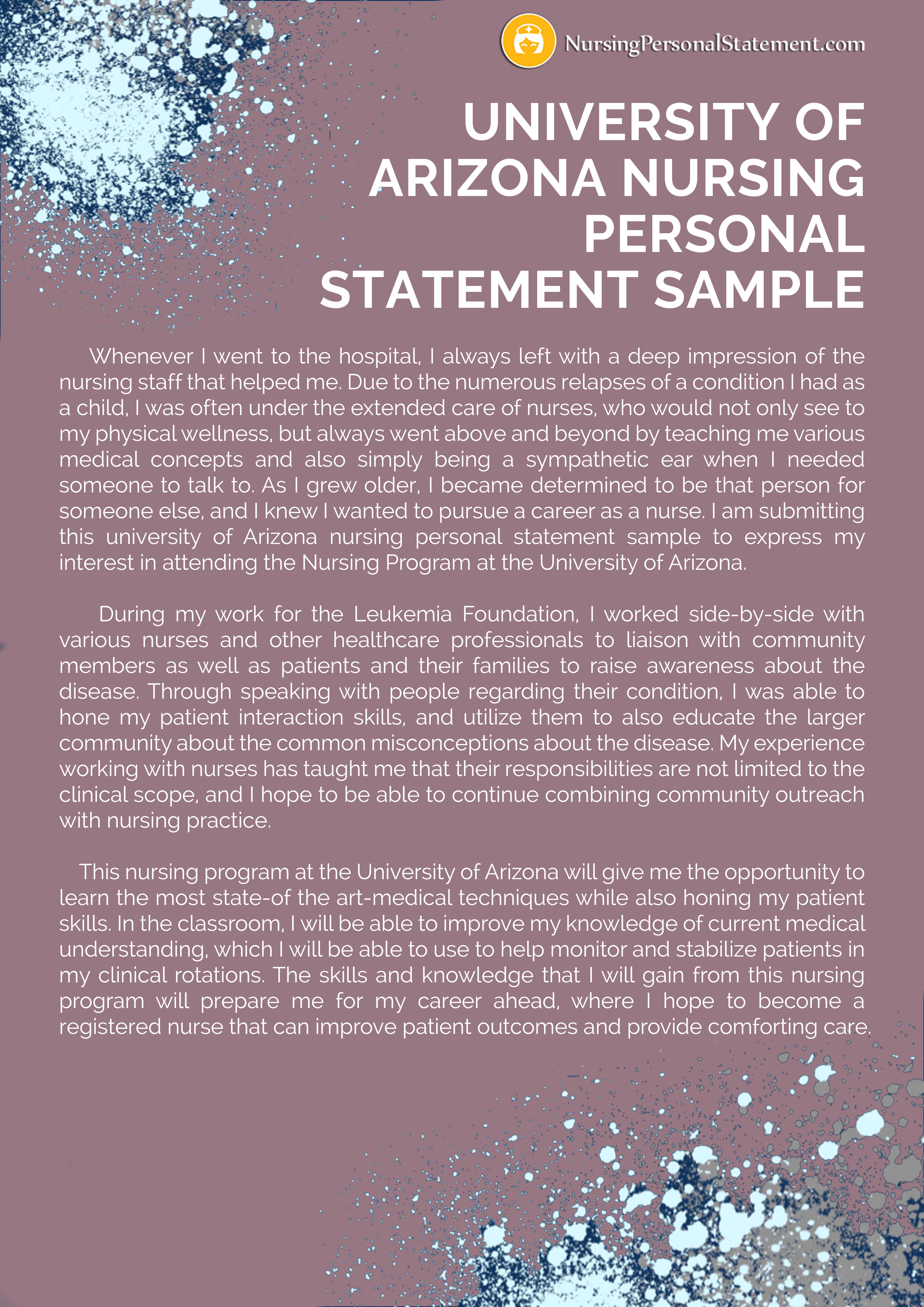 University Of Arizona Nursing Personal Statement Sample Scholarship Essay Examples For