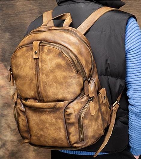 Men's Vintage Shoulder Bag, Large Capacity Leather Backpack
