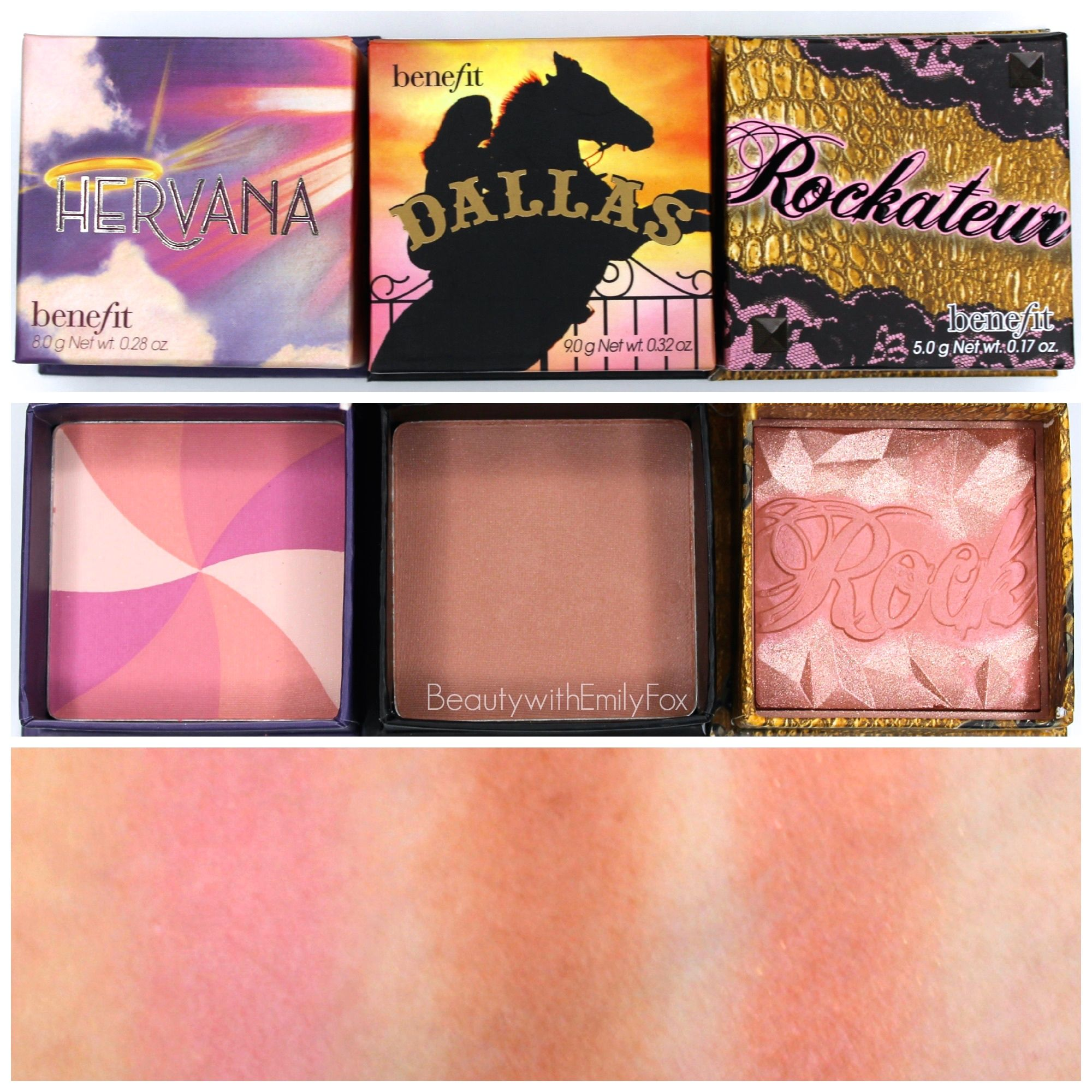 swatches of the benefit blushes in hervana dallas and rockateur from my last sephora hauls. Black Bedroom Furniture Sets. Home Design Ideas