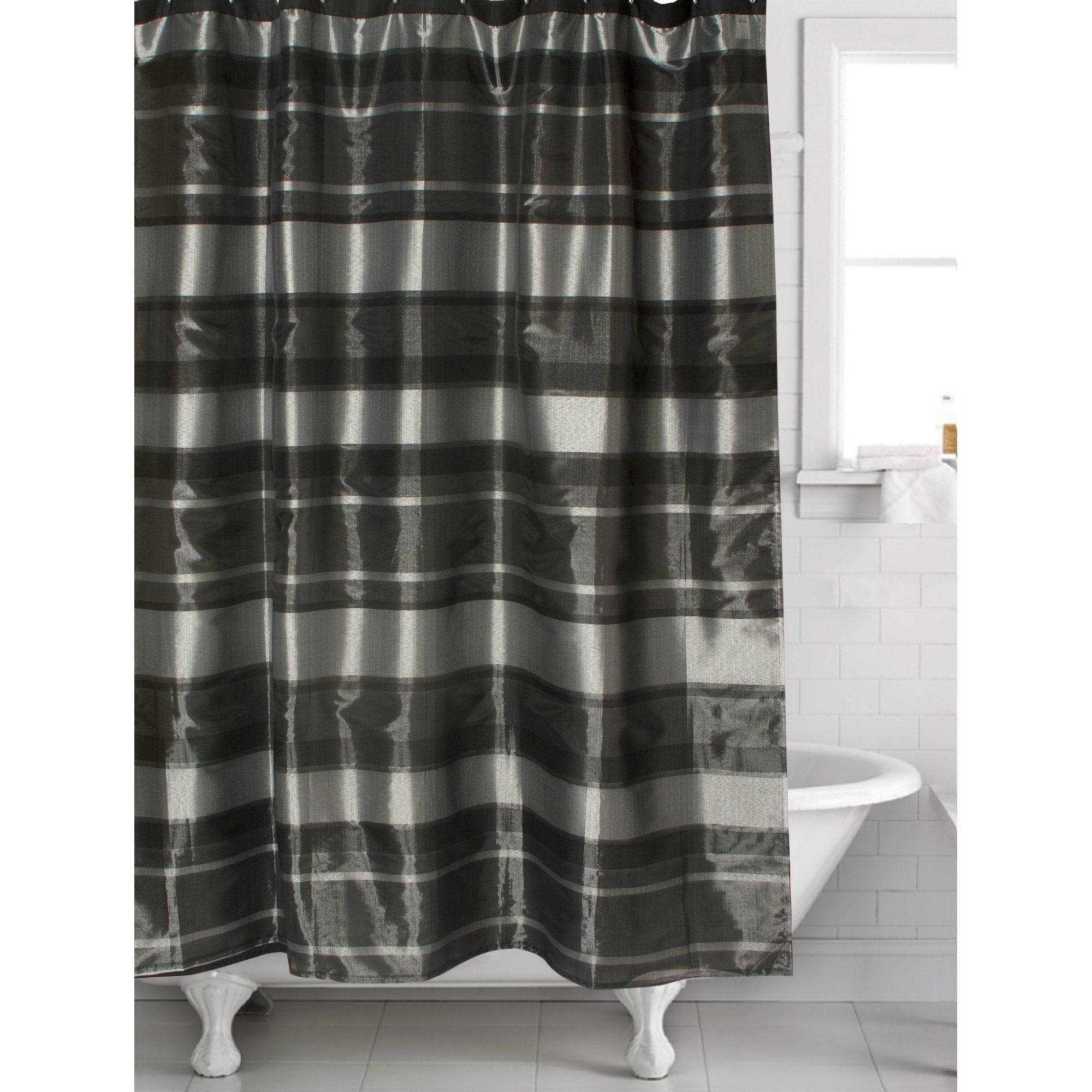 Twilight Shower Curtain 70 X 72 Black Machine Wash Polyester Famous Home Black White Tiles Bathroom White Bathroom Tiles Curtains