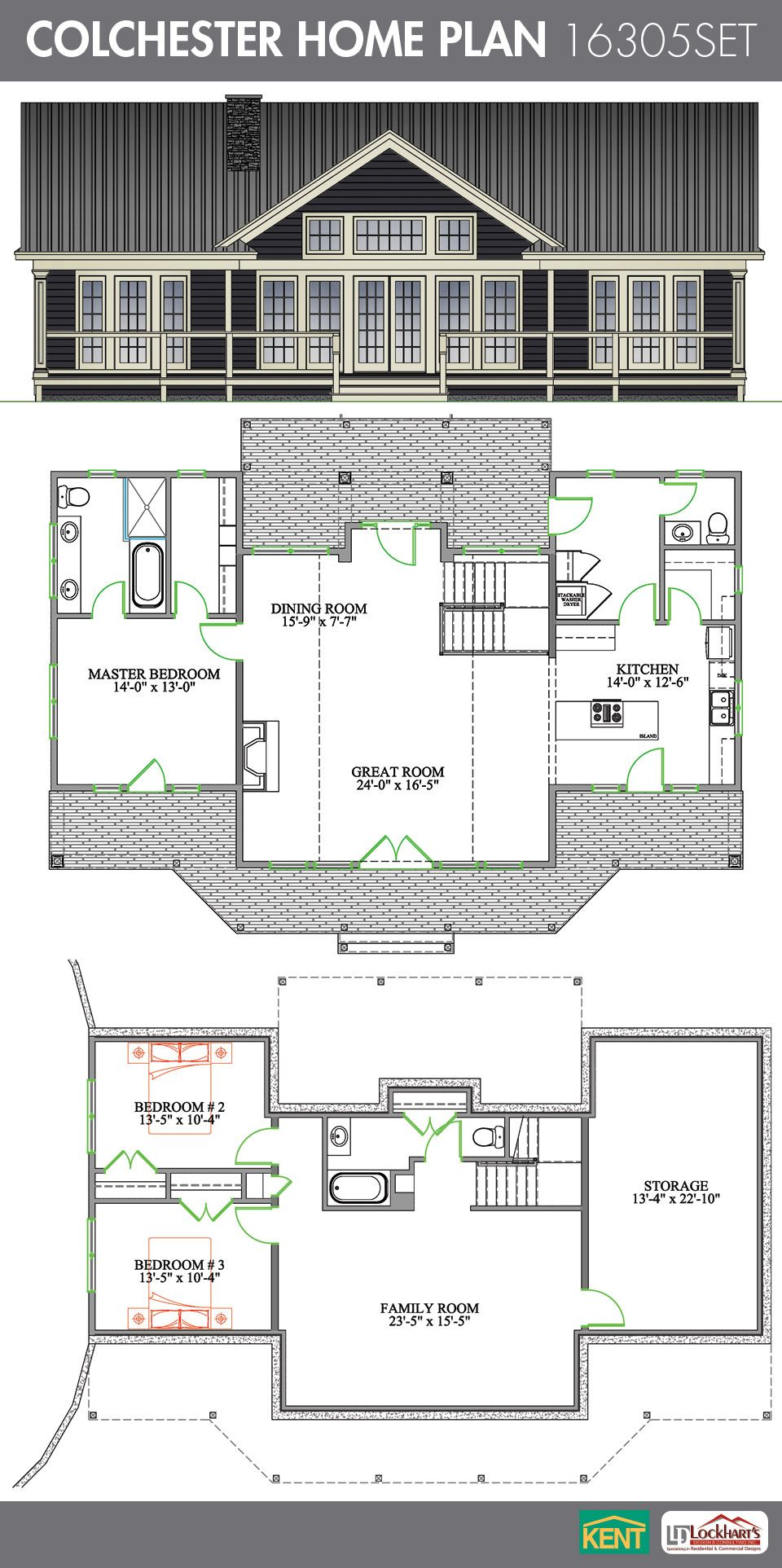 Colchester 3 Bedroom, 2 1/2 Bath Home Plan. Features: Open