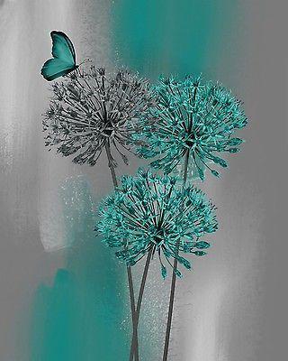 Photo of Blaugrün-Grau-Modern-Blumen-Schmetterling-Dekor-Blaugrün-Schlafzimmer-Badezimmer-Wandkunst-Bild