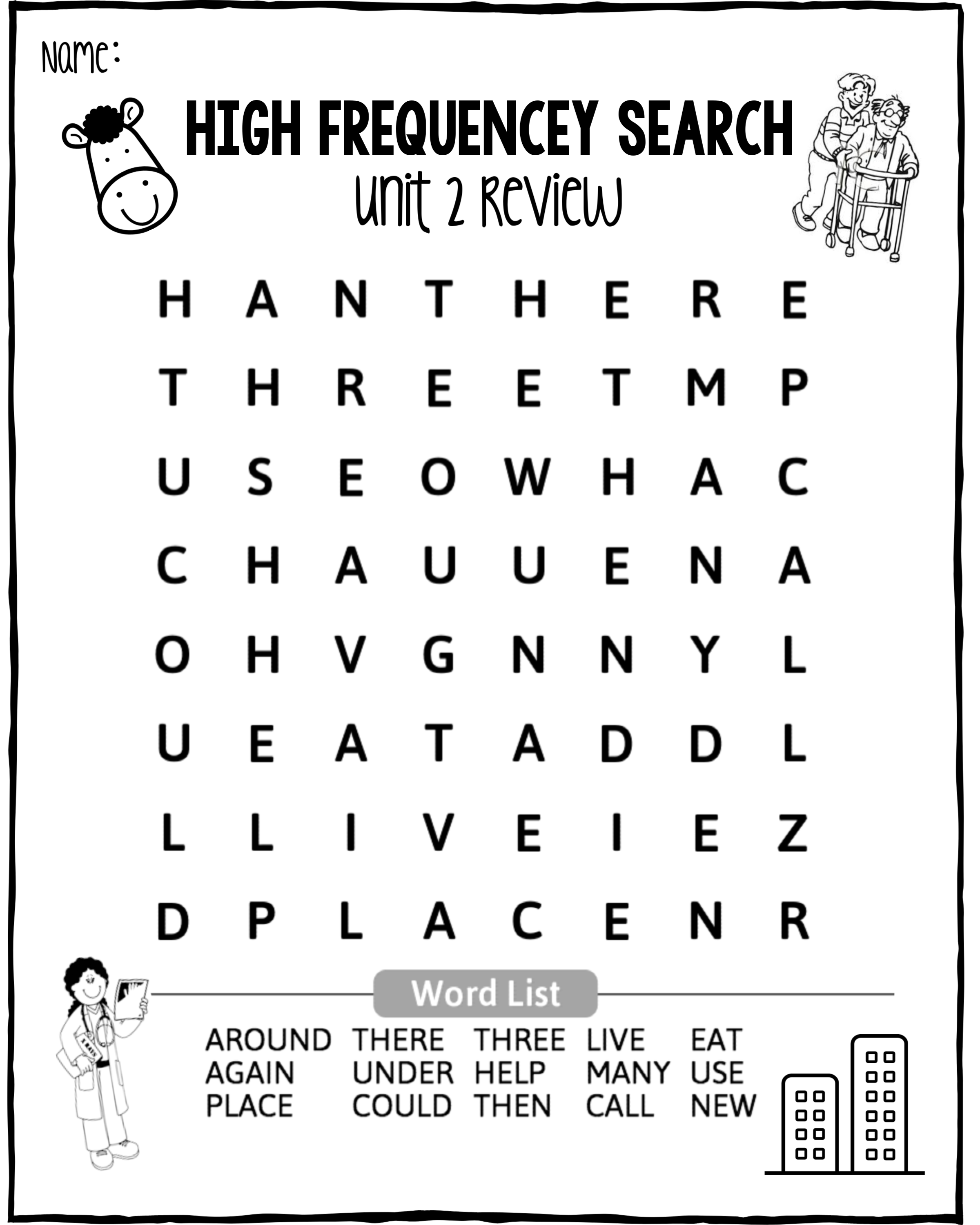 First Grade Wonders Unit 2 High Frequency Sight Word Practice Activities    Sight word practice [ 3000 x 2400 Pixel ]