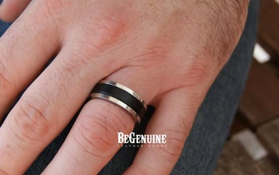 Mens Black Ring Stainless Steel With Genuine Leather Inlay