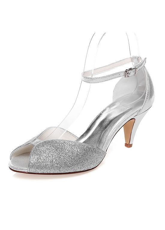 Sparkling PU Upper Peep Toe Kitten Heels Wedding Shoes
